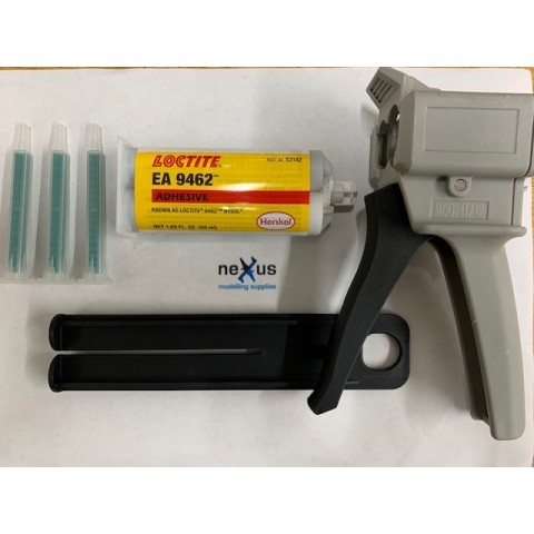 Epoxy Glue Gun Applicator Starter Set with Loctite Hysol Cartridge 9462 & 3 Nozzels