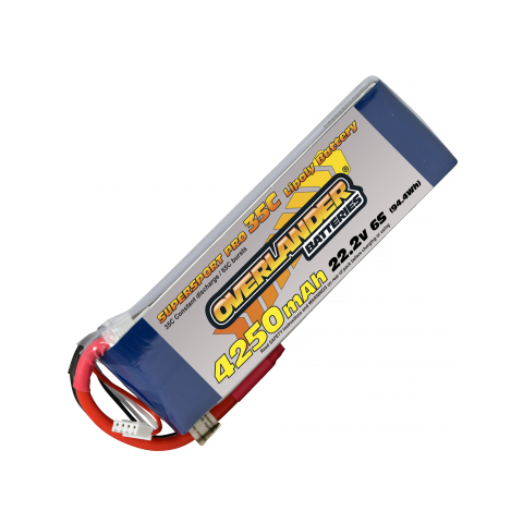 4250mAh 6S 22.2v 35C LiPo Battery - Overlander Supersport Pro
