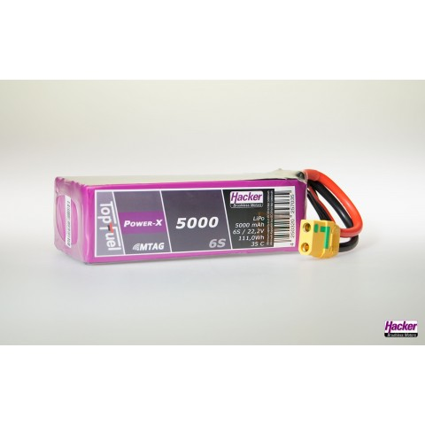 Hacker TopFuel Power-X 6S 5000mAh 35C LiPo Battery With MTAG