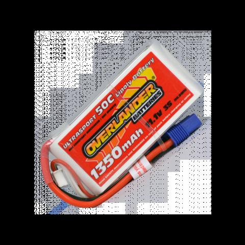 Overlander Ultrasport 1350mAh 3S 11.1v 50C LiPo Battery with EC3 2536